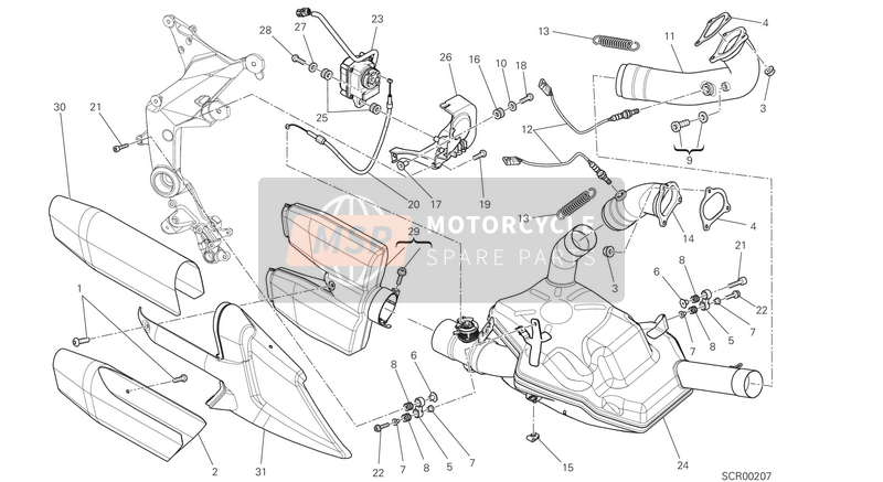 Ducati MULTISTRADE 1200 ABS USA 2014 EXHAUST SYSTEM  for a 2014 Ducati MULTISTRADE 1200 ABS USA