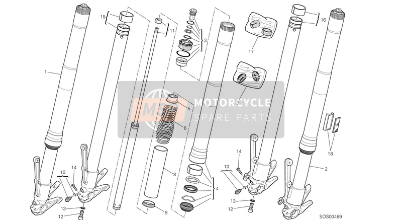 Ducati MULTISTRADE 1200 ABS USA 2014 FRONT FORK  for a 2014 Ducati MULTISTRADE 1200 ABS USA