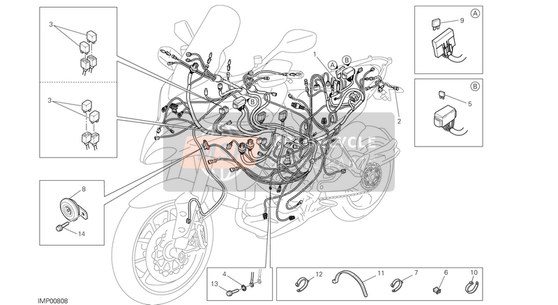 Ducati MULTISTRADE 1200 ABS USA 2014 WIRING HARNESS  for a 2014 Ducati MULTISTRADE 1200 ABS USA