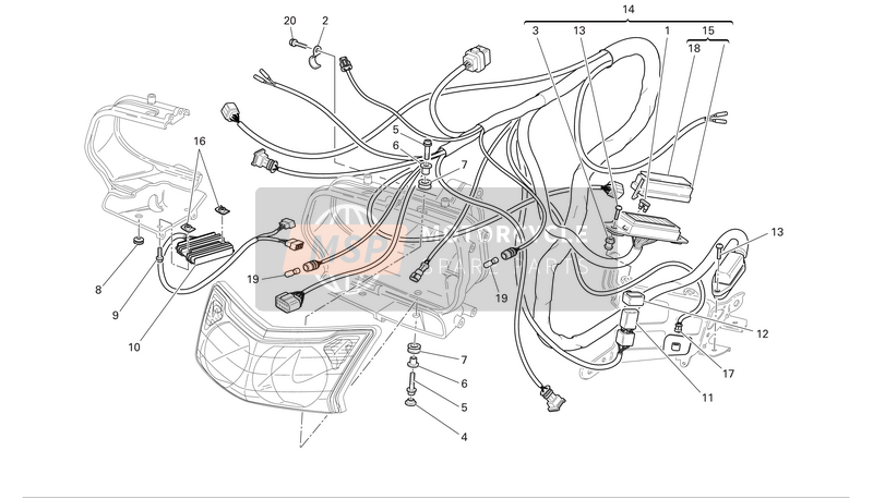 Headlight and electrical wiring