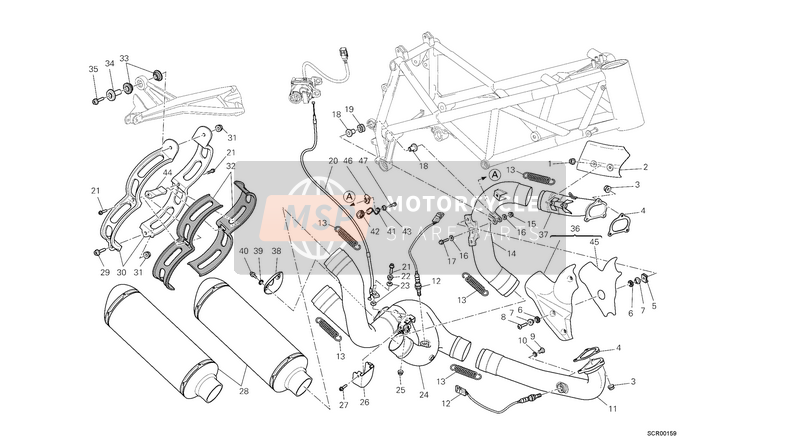 Ducati STREETFIGHTER 1098 S EU 2013 EXHAUST SYSTEM  for a 2013 Ducati STREETFIGHTER 1098 S EU
