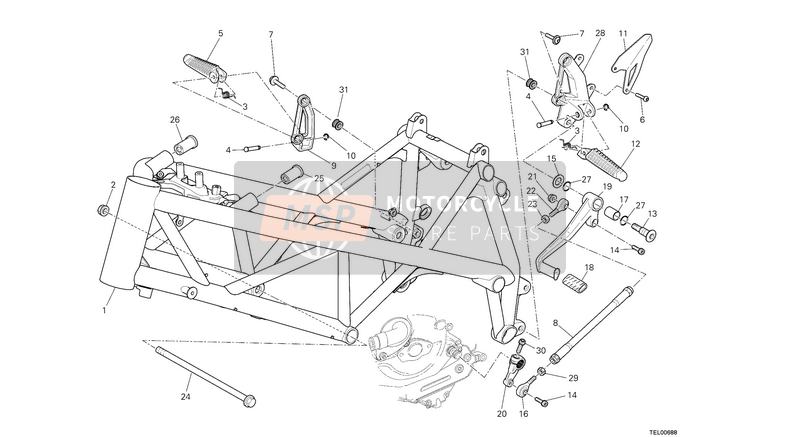 Ducati STREETFIGHTER 848 USA 2013 FRAME  for a 2013 Ducati STREETFIGHTER 848 USA