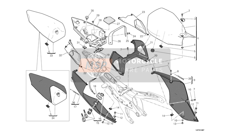 Ducati SUPERBIKE 1199 PANIGALE ABS EU 2013 SEAT  for a 2013 Ducati SUPERBIKE 1199 PANIGALE ABS EU