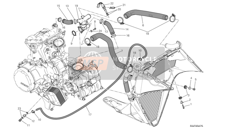 Ducati SUPERBIKE 1199 PANIGALE R USA 2014 COOLING SYSTEM  for a 2014 Ducati SUPERBIKE 1199 PANIGALE R USA