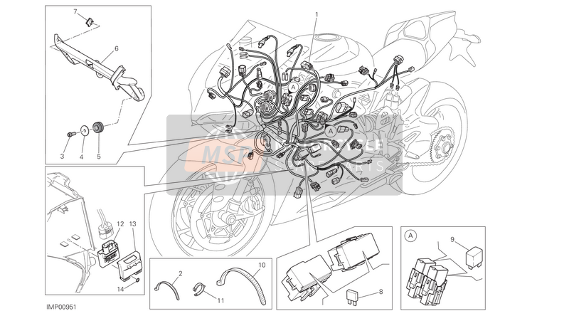 Ducati SUPERBIKE 1299 S ABS EU 2016 WIRING HARNESS  for a 2016 Ducati SUPERBIKE 1299 S ABS EU
