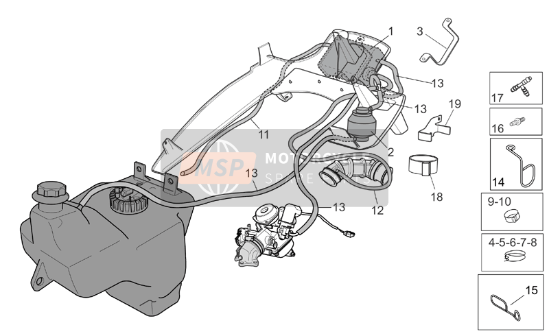 Aprilia Atlantic 125-200-250 2005 Combustible Vapor Recuperar Sistema for a 2005 Aprilia Atlantic 125-200-250