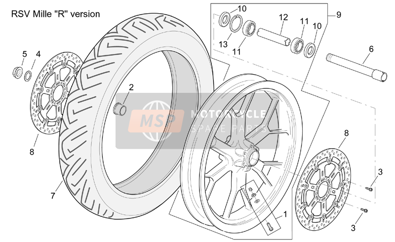 "Front wheel RSV Mille ""R"" Version"