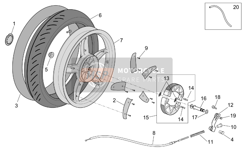 Aprilia Scarabeo 50 4T 2V E2 2002 Rear wheel - drum brake for a 2002 Aprilia Scarabeo 50 4T 2V E2