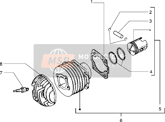 Cylinder-Pistone-Polso Perno, assy