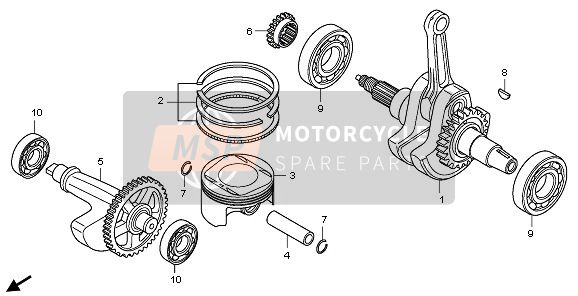 Honda TRX700XX 2011 E-17 CRANKSHAFT & PISTON for a 2011 Honda TRX700XX