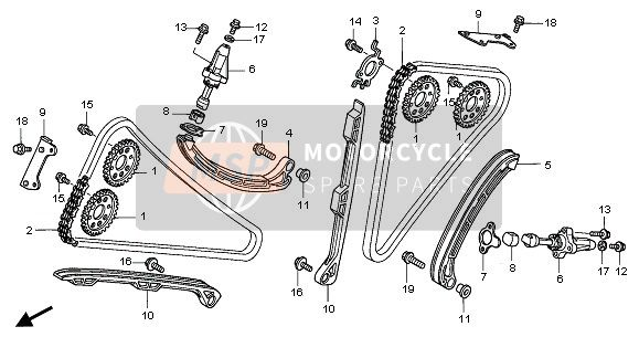 Honda VFR800 2005 E-4 CAM CHAIN & TENSIONER for a 2005 Honda VFR800