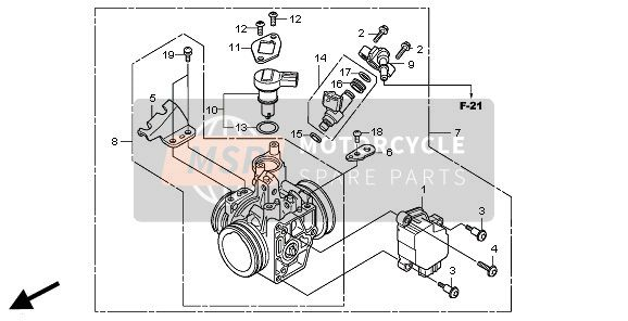 Honda CBR250R 2011 E-23 THROTTLE BODY for a 2011 Honda CBR250R