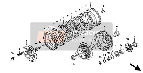 Honda NX650 1997 E-7 CLUTCH for a 1997 Honda NX650