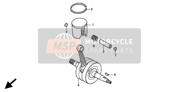 Honda CR125R 1994 E-8 CRANKSHAFT & PISTON for a 1994 Honda CR125R