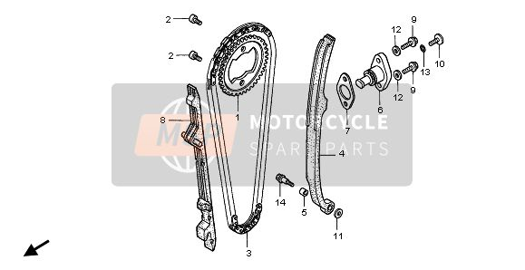 Honda XR400R 2002 E-4 CAM CHAIN & TENSIONER for a 2002 Honda XR400R