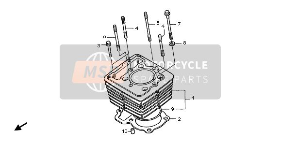 Honda XR400R 2002 E-5 CYLINDER for a 2002 Honda XR400R
