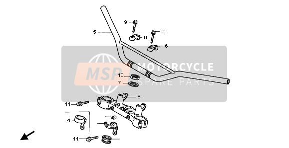 Honda XR400R 2002 F-5 HANDLE PIPE & TOP BRIDGE for a 2002 Honda XR400R
