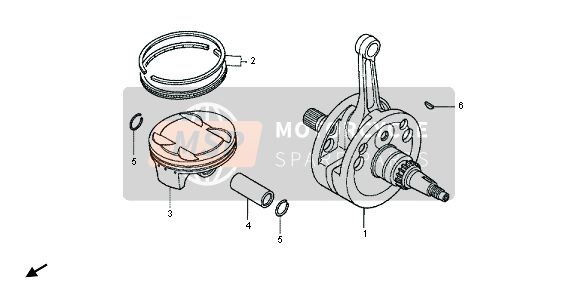 Honda CRF450X 2013 E-15 CRANKSHAFT & PISTON for a 2013 Honda CRF450X