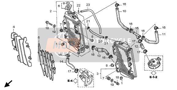 Honda CR125R 2005 F-21-1 RADIATOR for a 2005 Honda CR125R