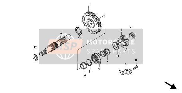 Honda XR600R 1996 E-14 KICK STARTER SPINDLE for a 1996 Honda XR600R
