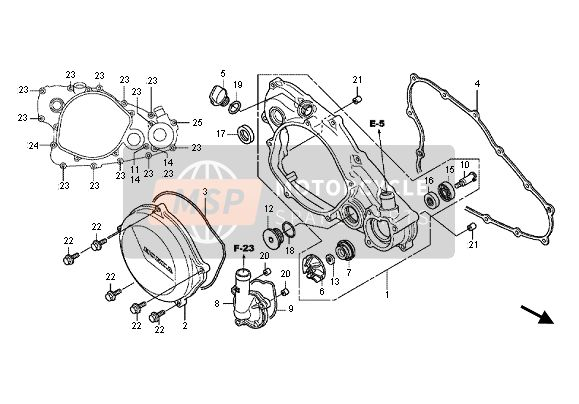 R. CRANKCASE COVER & WATERPUMP
