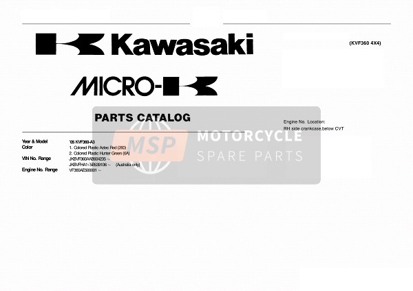 Kawasaki KVF360 4x4 2005 MODEL IDENTIFICATION for a 2005 Kawasaki KVF360 4x4
