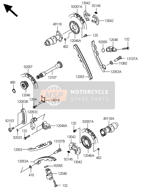 Kawasaki BRUTE FORCE 650 4x4i 2014 CAMSHAFT(S) & TENSIONER for a 2014 Kawasaki BRUTE FORCE 650 4x4i