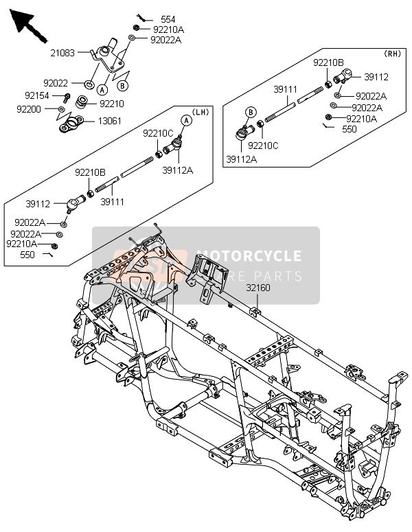 Kawasaki BRUTE FORCE 750 4X4i EPS(HEF) 2014 Frame for a 2014 Kawasaki BRUTE FORCE 750 4X4i EPS(HEF)