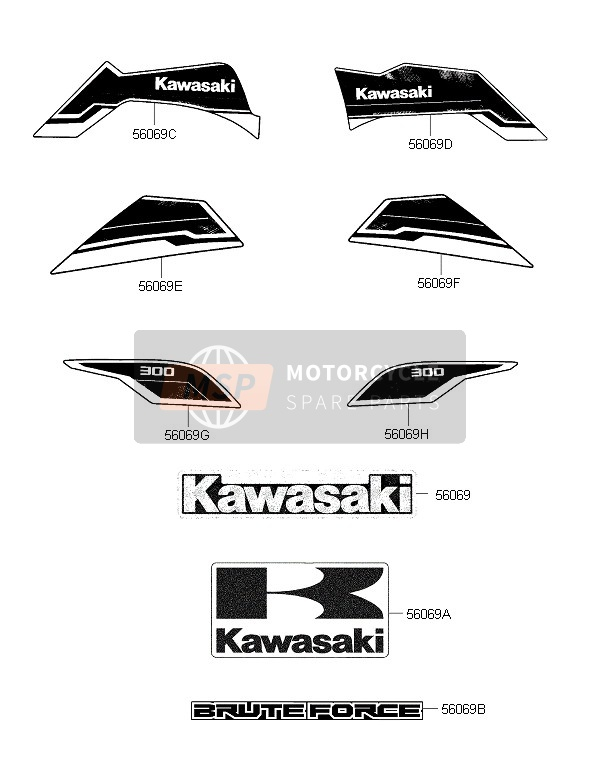 Kawasaki BRUTE FORCE 300 2015 AUFKLEBER (SCHWARZ) for a 2015 Kawasaki BRUTE FORCE 300