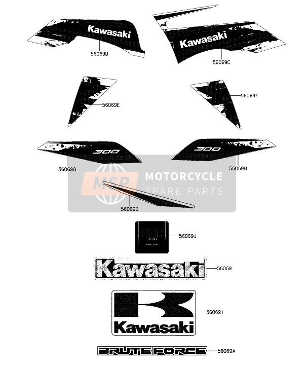 Kawasaki BRUTE FORCE 300 2018 Stickers for a 2018 Kawasaki BRUTE FORCE 300