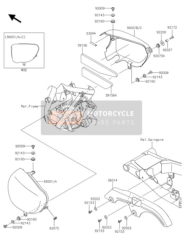 SIDE COVERS & CHAIN COVER (BLUE-WHITE)