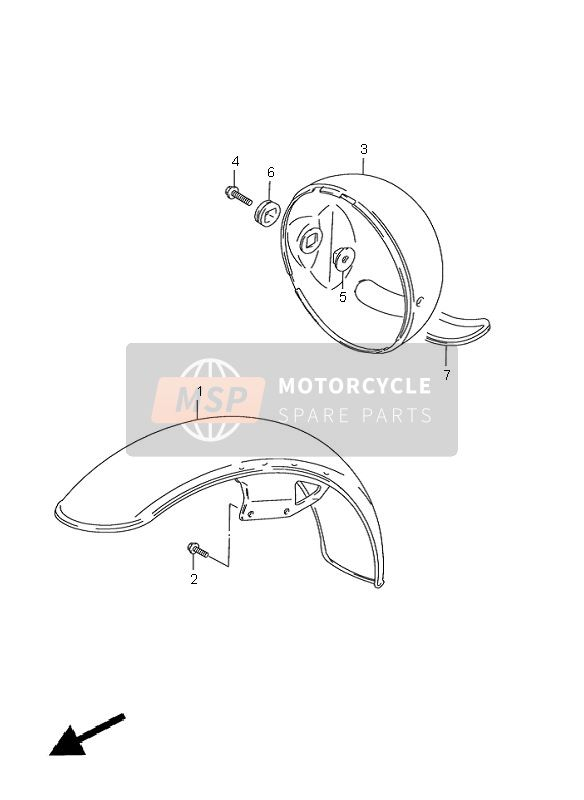 Suzuki GN125(E) 2000 FRONT FENDER & HEADLAMP HOUSING for a 2000 Suzuki GN125(E)