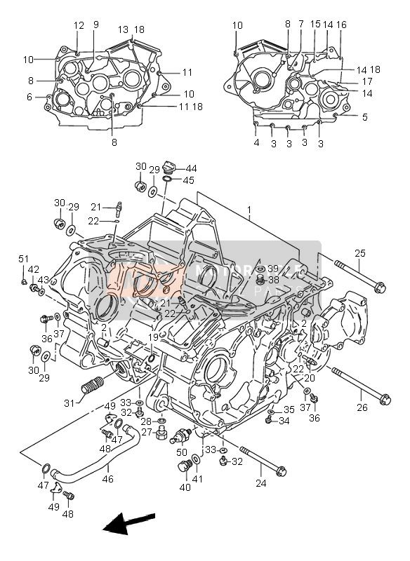 Suzuki VS800 INTRUDER 2000 CRANKCASE for a 2000 Suzuki VS800 INTRUDER