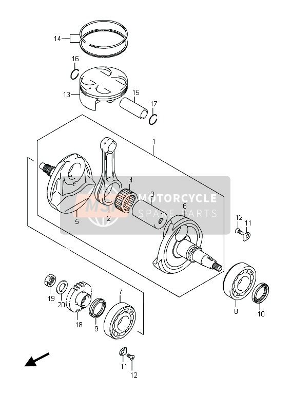 Suzuki RMX450Z 2015 CRANKSHAFT for a 2015 Suzuki RMX450Z