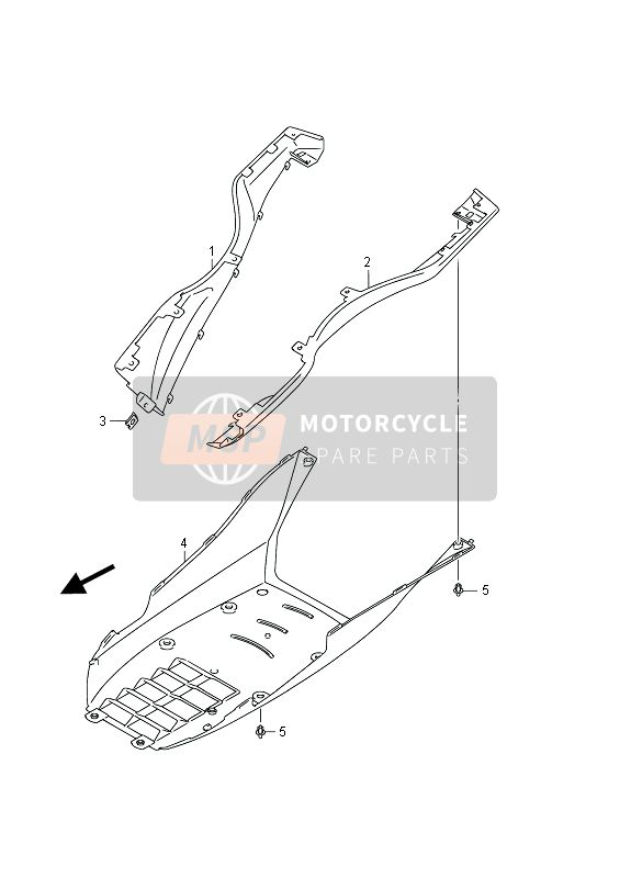 Suzuki UH200(Z) BURGMAN 2013 SIDE LEG SHIELD (UH200Z P19) for a 2013 Suzuki UH200(Z) BURGMAN