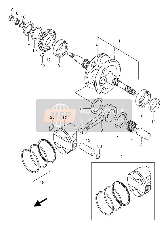 Suzuki AN400(S) BURGMAN 2005 CRANKSHAFT for a 2005 Suzuki AN400(S) BURGMAN