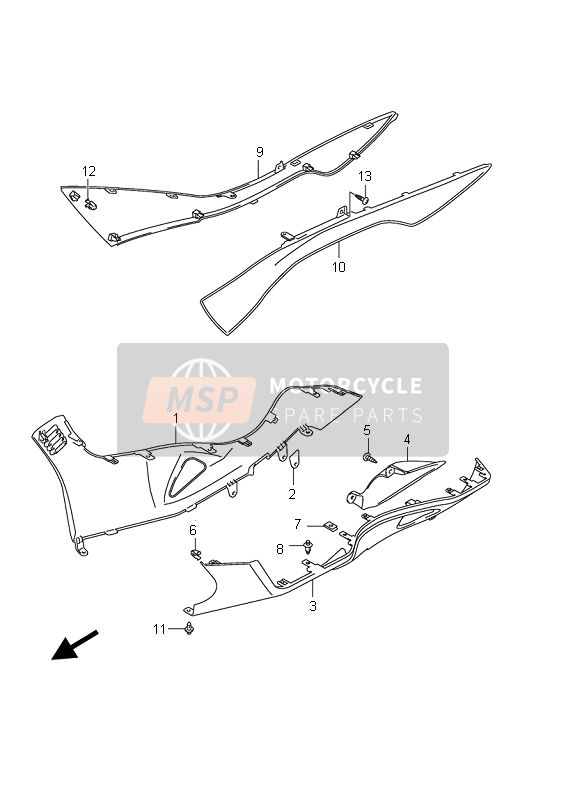 Suzuki AN400(A)(ZA) BURGMAN 2010 SIDE LEG SHIELD for a 2010 Suzuki AN400(A)(ZA) BURGMAN