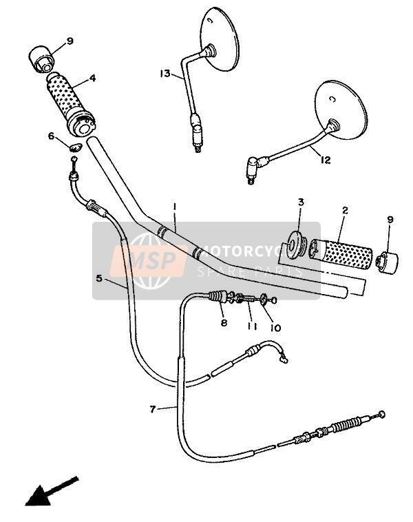 STEERING HANDLE & CABLE (FLAT)